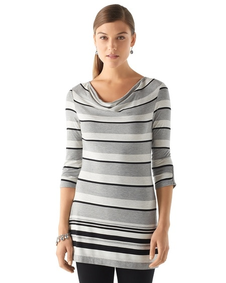 Draped Neck Stripe Tunic
