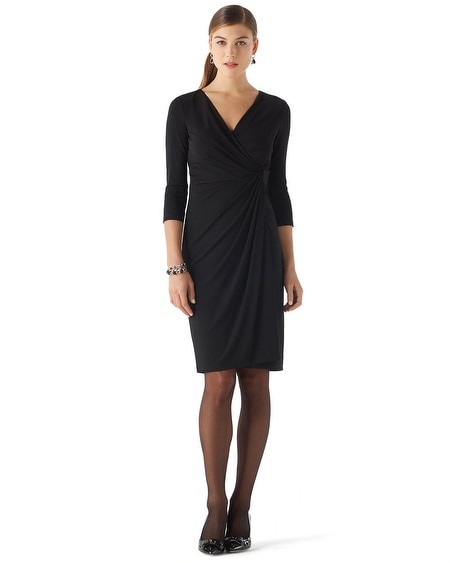 Matte Jersey Faux Wrap Dress