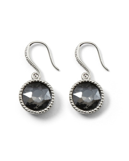 Kaleidoscope Gray Crystal Drop Earring