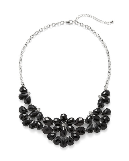 Jet Glass Floral Necklace