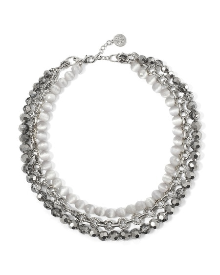 Gray Cat's Eye Crystal Convertible Necklace