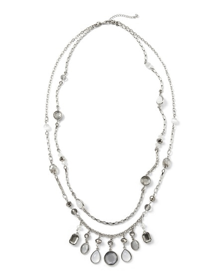 Gray Moon Glow Long Necklace