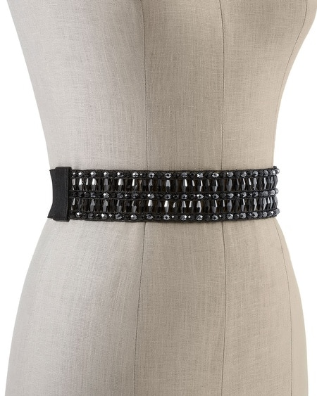 Jet/Hematite Beaded Stretch Belt