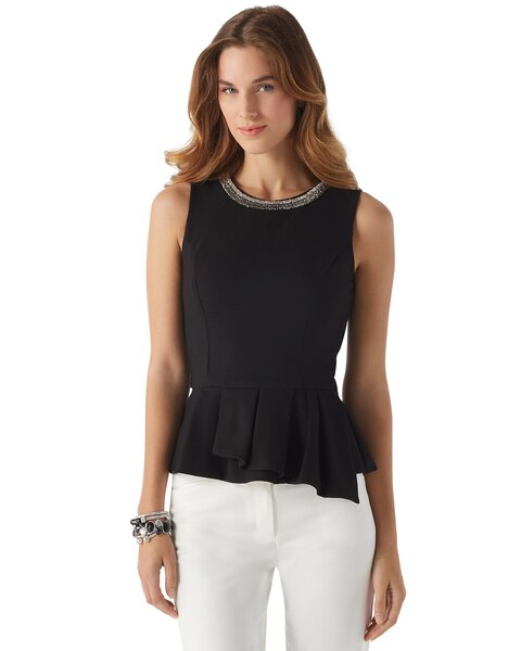 b2b7e4163e Return to thumbnail image selection Embellished Ponte Peplum Top video  preview image