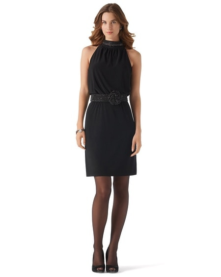 Sparkle Mockneck Halter Dress