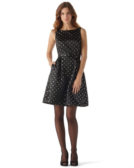 Shimmer Dot Fit & Flare  Dress