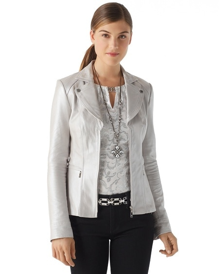 Pearlized Leather Jacket