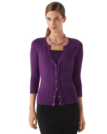 Imperial Purple V-Neck Ruffled Cardi
