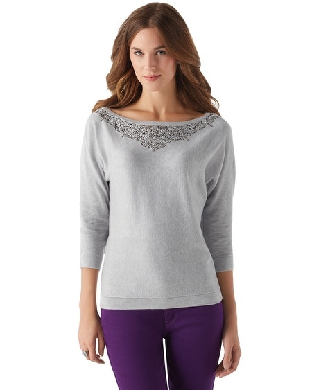 Embellished Dolman Sleeve Sweater