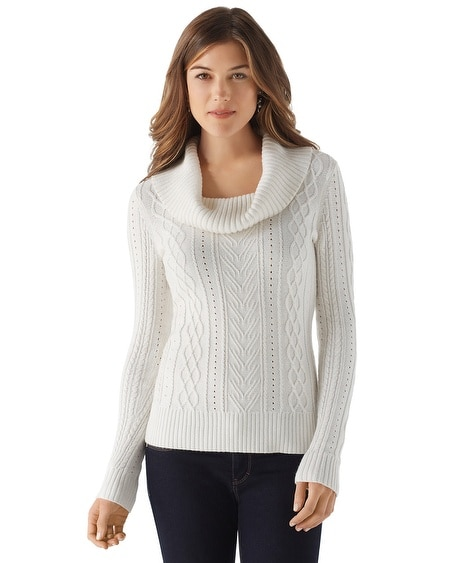 Irish Cable Cowl Neck Sweater