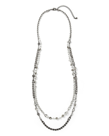 Mixed Metal/Crystal Convertible Long Necklace