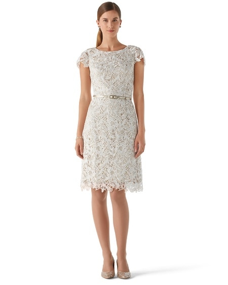 Ecru Guipure Lace Dress