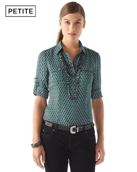 Petite Popover Silk City Camp Shirt