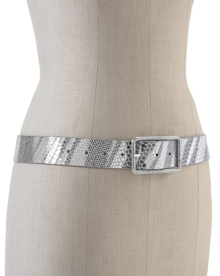 Reversible Printed Metallic Snake/Patent Belt
