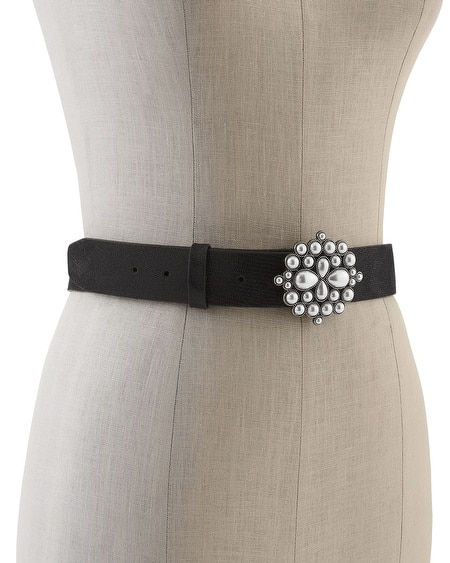 Glass Pearl Buckle Contour Belt