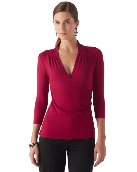 Button Accent Surplice Wrap Top