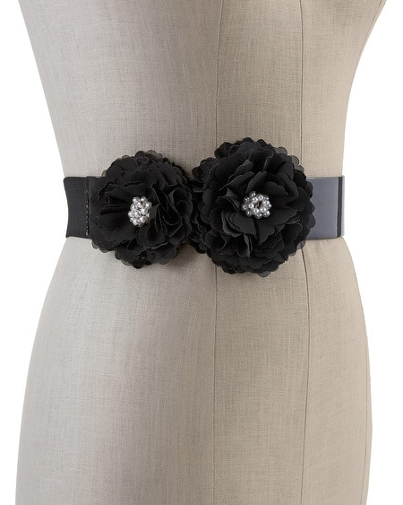 Black Flower Patent Belt