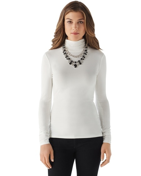Ruched Long Sleeve Turtleneck
