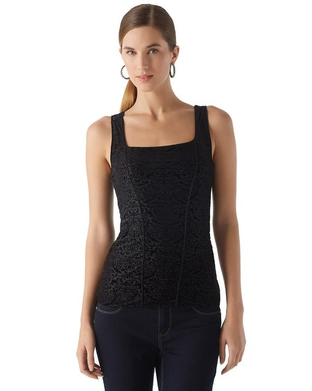 Devore Velvet Corset Seamed Top