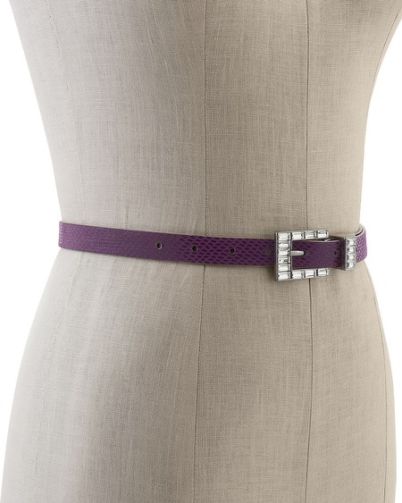 Crystal Buckle Reversible Skinny Belt