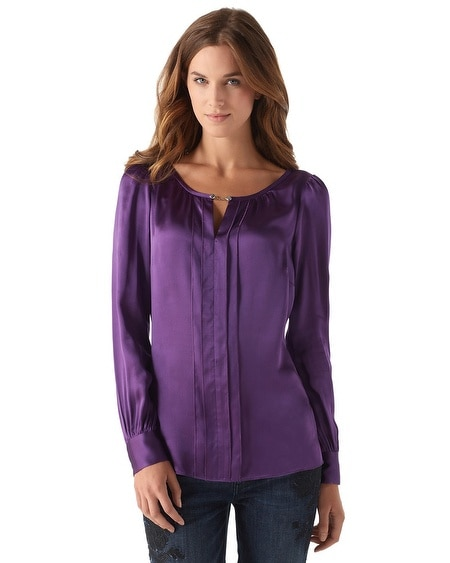 Silk Pleat Front Blouse