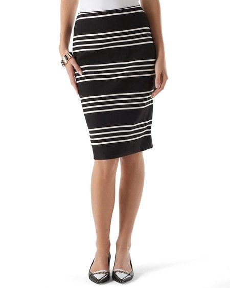 Striped Ponte Pencil Skirt