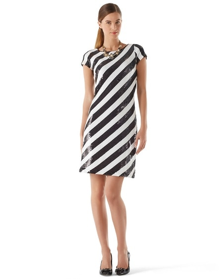 Diagonal Sequin Stripe Dress