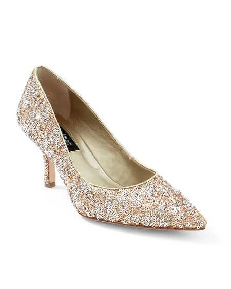 Mixed Metallic Sequin Low Heel Pumps