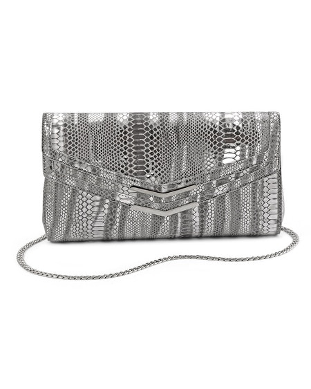 Printed Metallic Snake Clutch