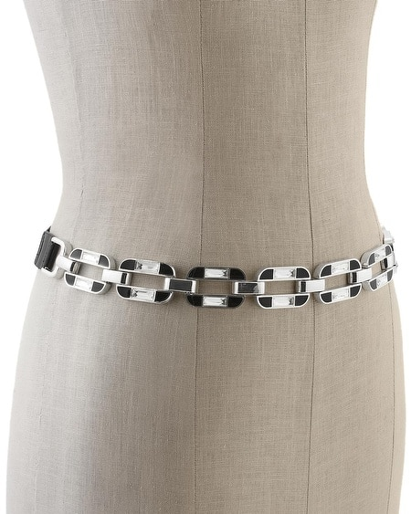 Crystal/Black Enamel Stretch Belt