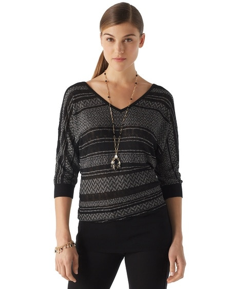 Mixed Stripe Shimmer Sweater