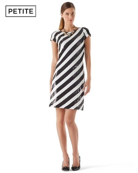 Petite Diagonal Sequin Stripe Dress