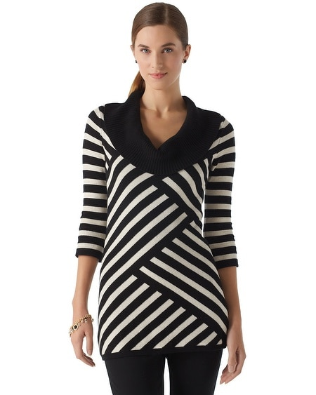Black & Shimmer Stripe Sweater Tunic