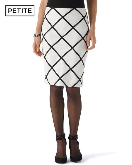 Petite Graphic Ponte Pencil Skirt