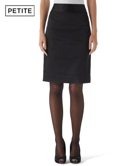 Petite Satin Pencil Skirt