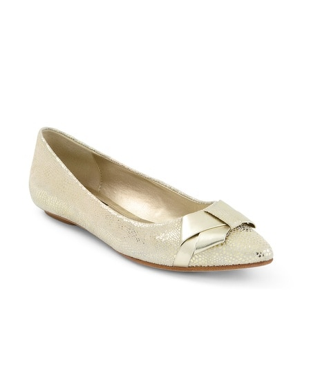 Gold Bow Metallic City Flat