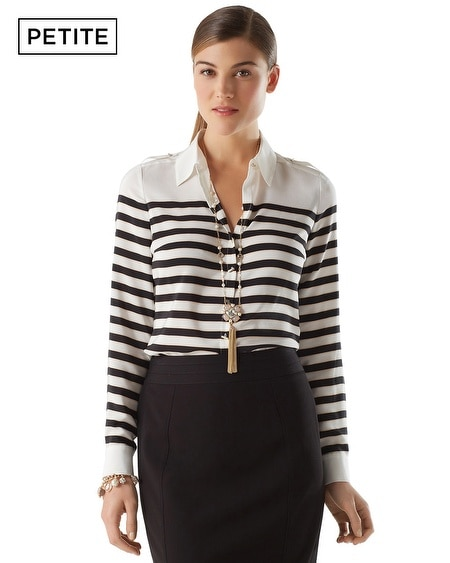 Petite Movie Reel Stripe Blouse