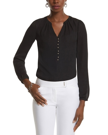 Silvertone Button Popover Blouse