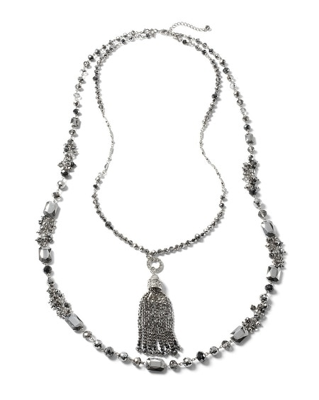 Convertible Ombre Metallic Gray Crystal Tassel Necklace