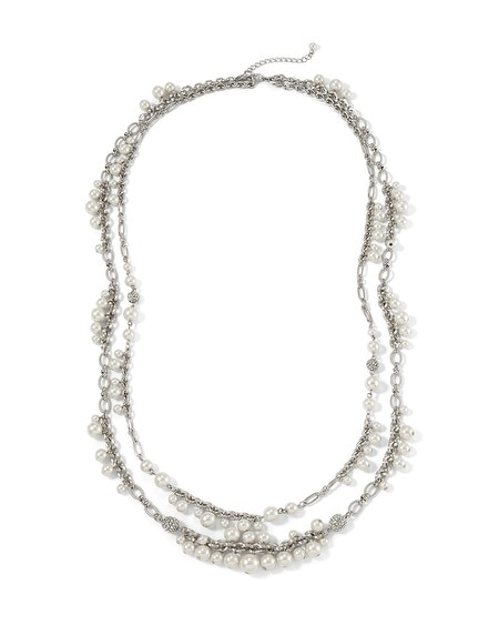 Convertible Glass Pearl Long Necklace
