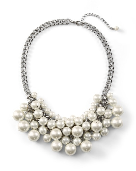 Glass Pearl Bib Necklace