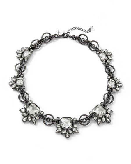 Crystal Hematite Finish Short Necklace