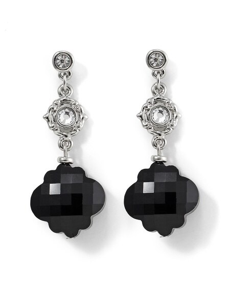 Jet Flower Bead Drop Earring