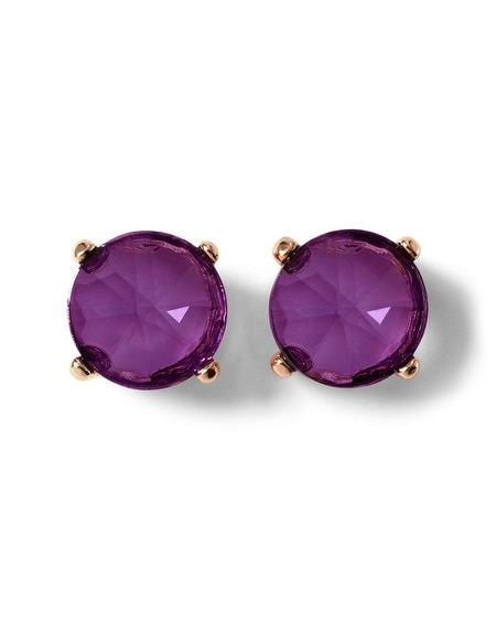 Goldtone Imperial Purple Stone Stud Earring