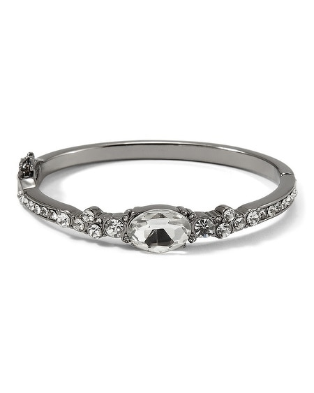 Crystal Hematite Finish Bangle