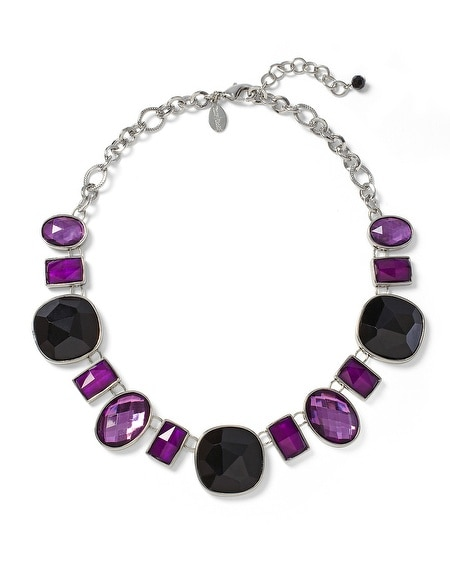 Imperial Purple/Black Geo Short Necklace