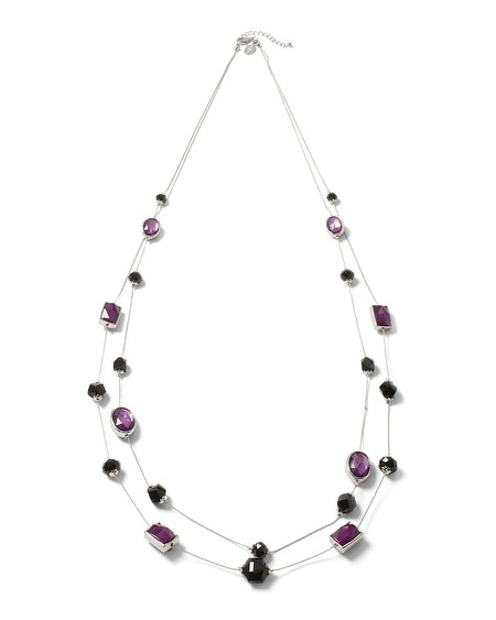 Imperial Purple/Black Geo Long Necklace