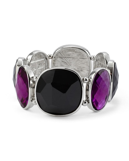 Imperial Purple/Black Geo Stretch Bracelet