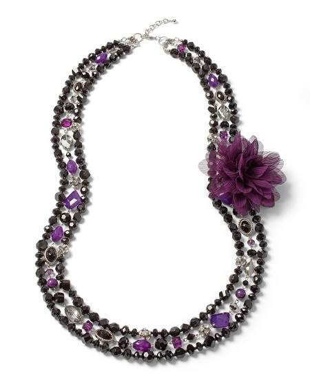 Imperial Purple/Black Convertible Flower Necklace
