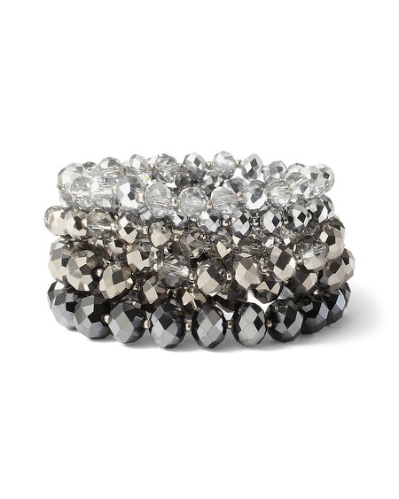 Ombre Metallic Gray Stretch Bracelets